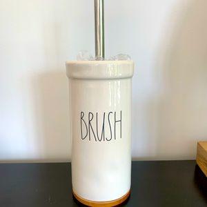 Rae Dunn bathroom BRUSH ceramic with wood base